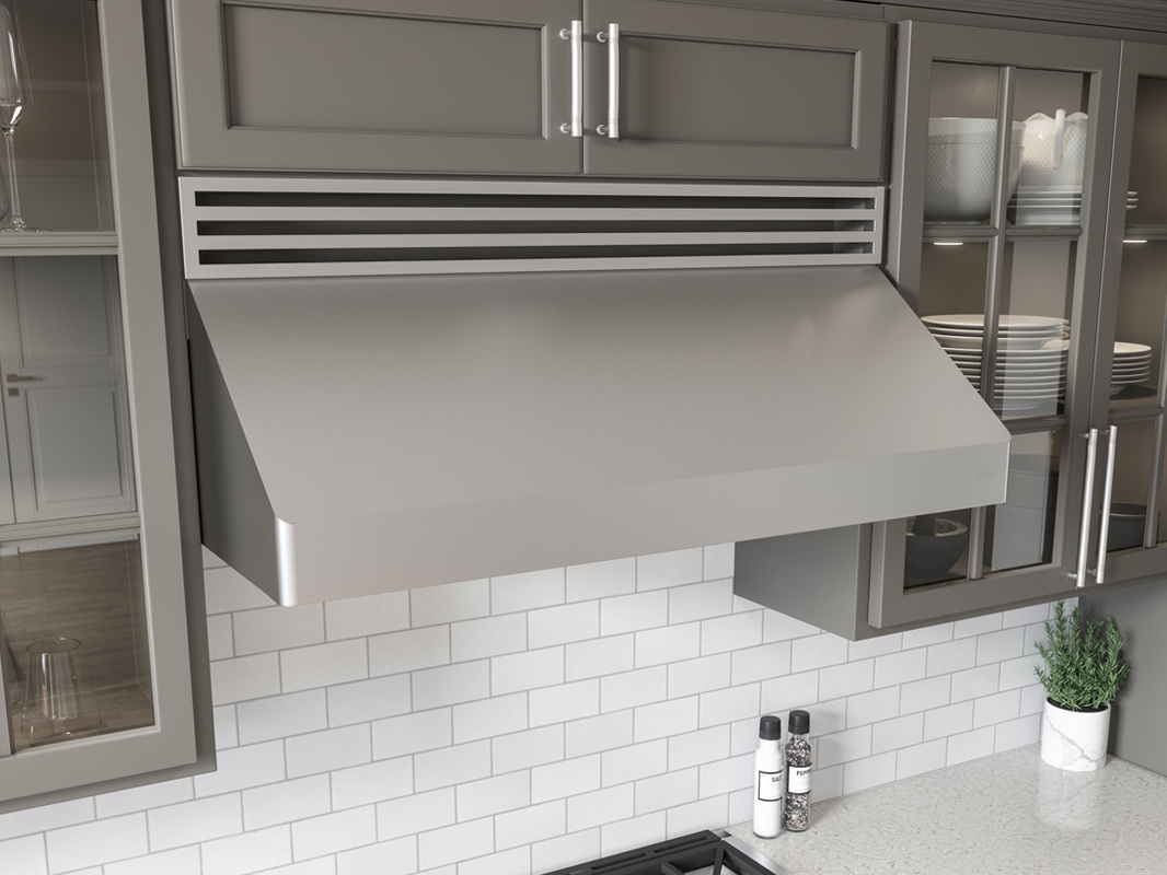 Zephyr Tempest I Under-Cabinet Range Hood shown with louver