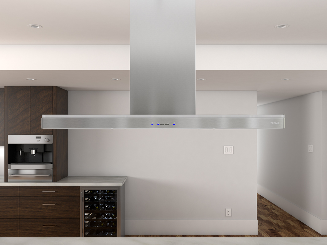 Zephyr ZLC-M90BS 600 CFM 36 Inch Wide Island Range Hood with ACT Technology and LED Lighting from Luce Series