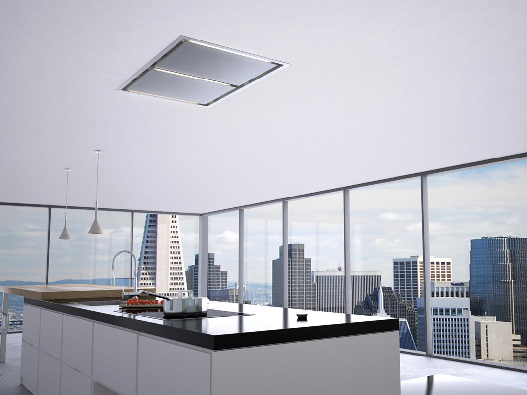 zephyr's new lux island range hood mounts in-ceiling for an