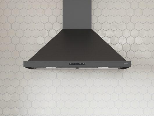 ZOM-B Zephyr Ombra Wall Range Hood, black stainless steel