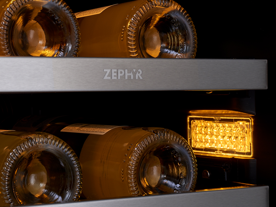 "Zephyr Presrv™ 15"" Single Zone Wine Cooler 3-Color LED in Amber"