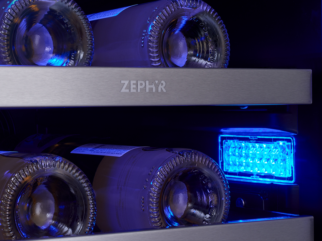 "Zephyr Presrv™ 15"" Single Zone Wine Cooler 3-Color LED in Deep Blue"