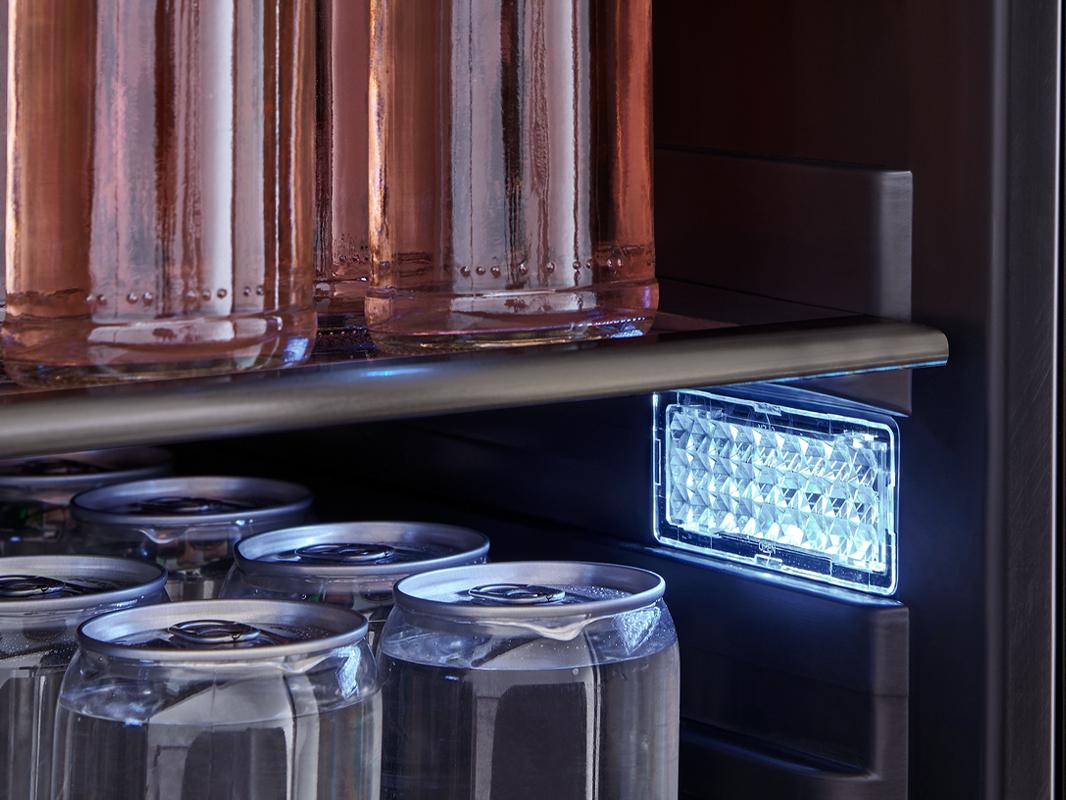 Zephyr Presrv™ Single Zone Beverage Cooler in Black Stainless Steel, 3-Color LED lights in Cloud White