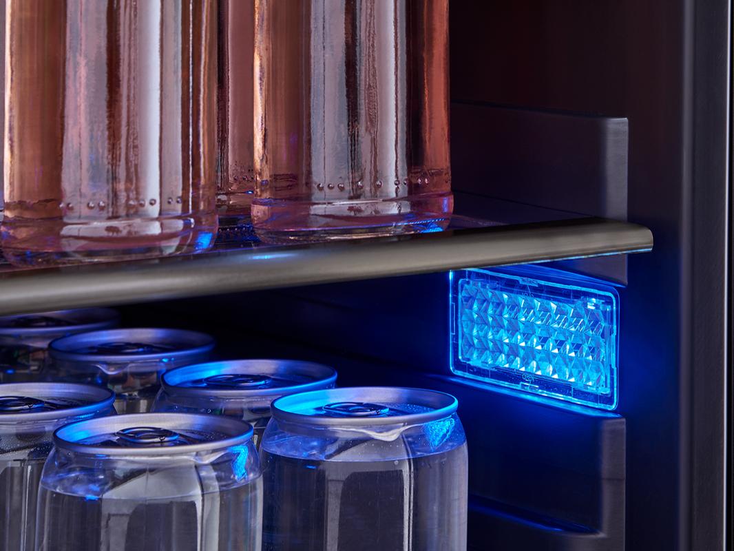 Zephyr Presrv™ Single Zone Beverage Cooler in Black Stainless Steel, 3-Color LED lights in Amber