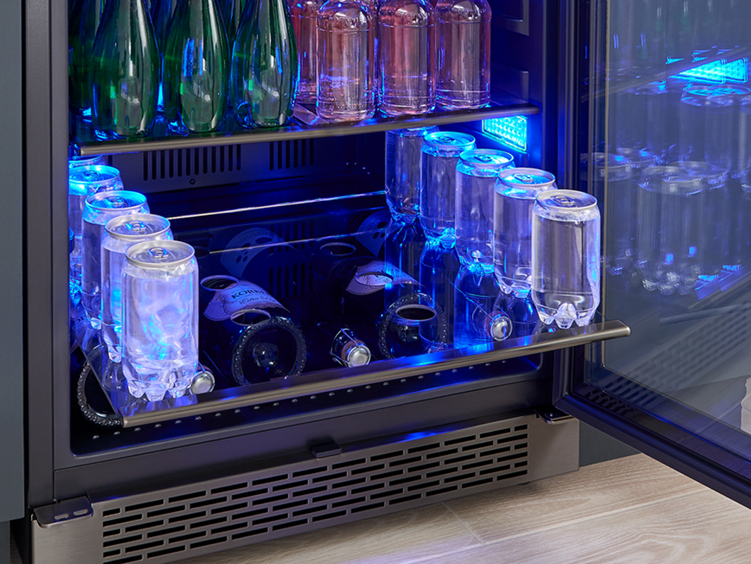Zephyr Presrv™ Black Stainless Single Zone Beverage Cooler, gray-glass shelf