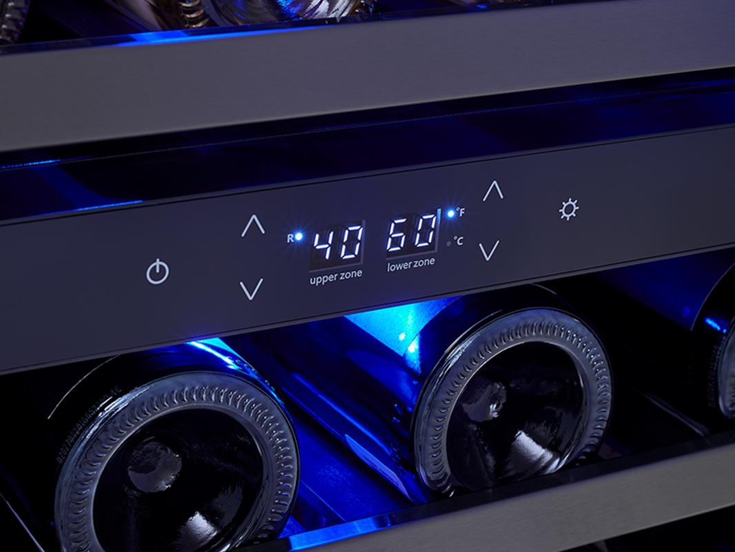 Zephyr Presrv™ Dual Zone Wine Cooler in Black Stainless Steel display controls