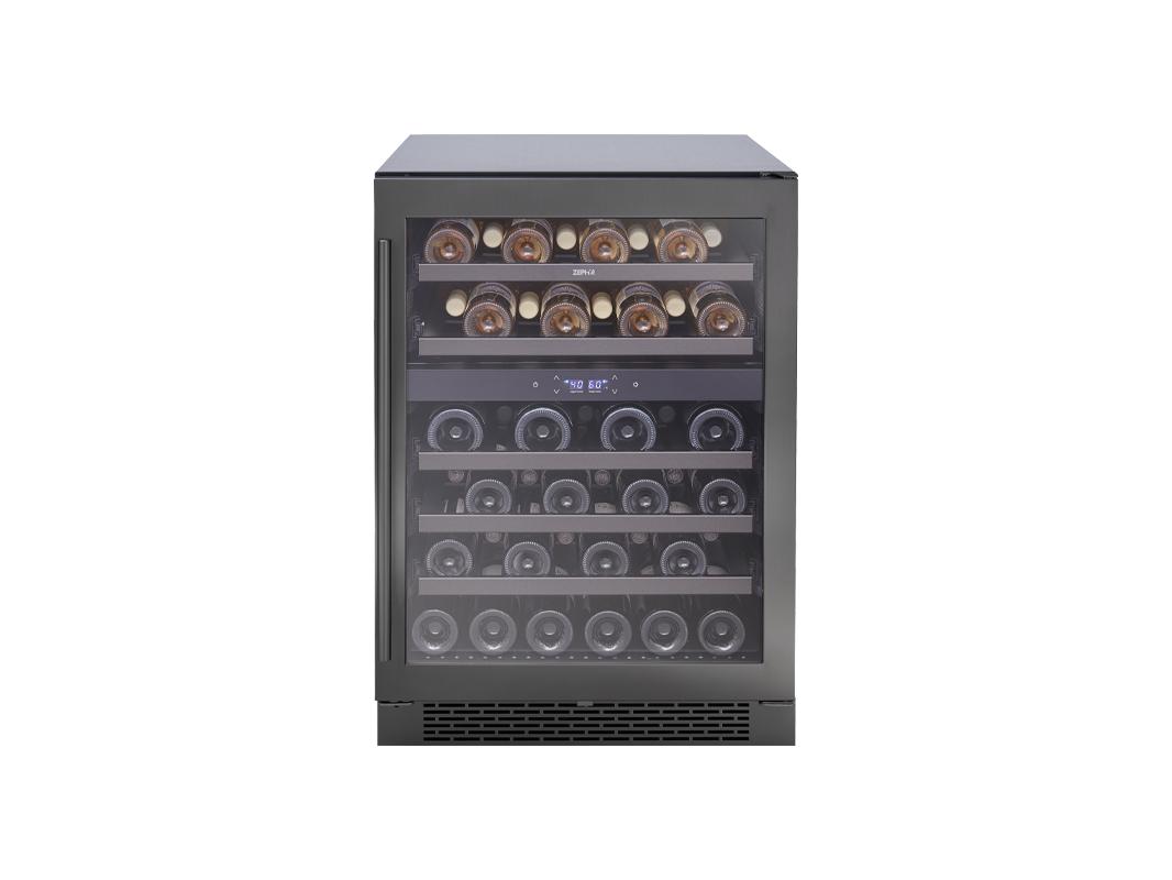 Zephyr Presrv™ Dual Zone Wine Cooler in Black Stainless Steel