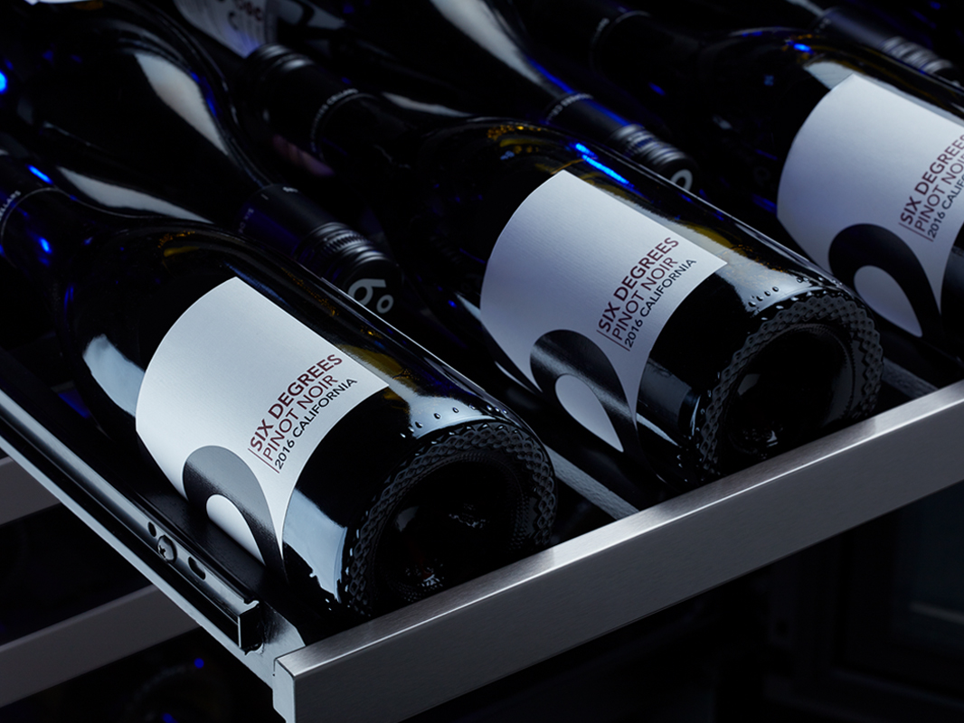 Zephyr Presrv™ Dual Zone in Black Stainless Steel, Large Diameter Bottle Rack for Pinot Noir, Chardonnay, and Champagne
