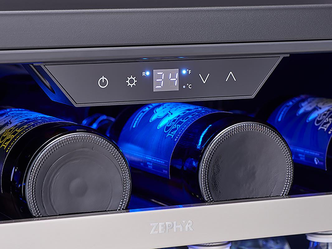 Zephyr Presrv™ Single Zone Beverage Cooler display controls