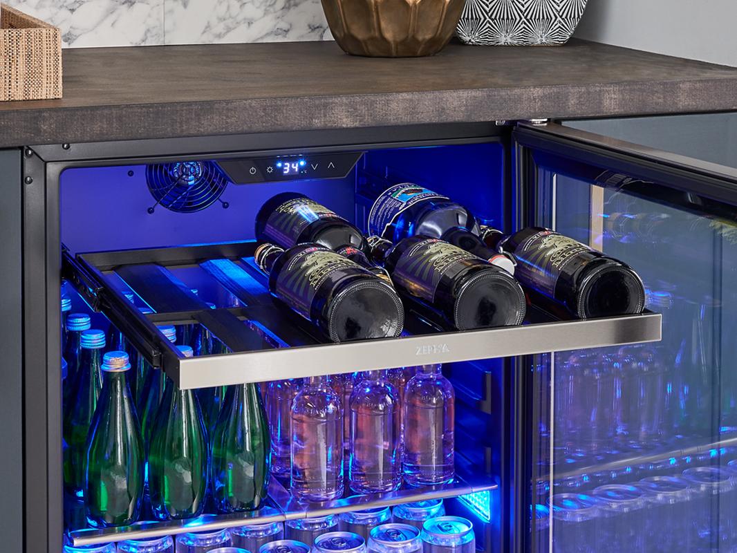 Zephyr Presrv™ Single Zone Beverage Cooler Full-Extension, Black Wood Rack With Stainless Steel Trim Full-Extension, Black Wood Rack With Stainless Steel Trim (1)