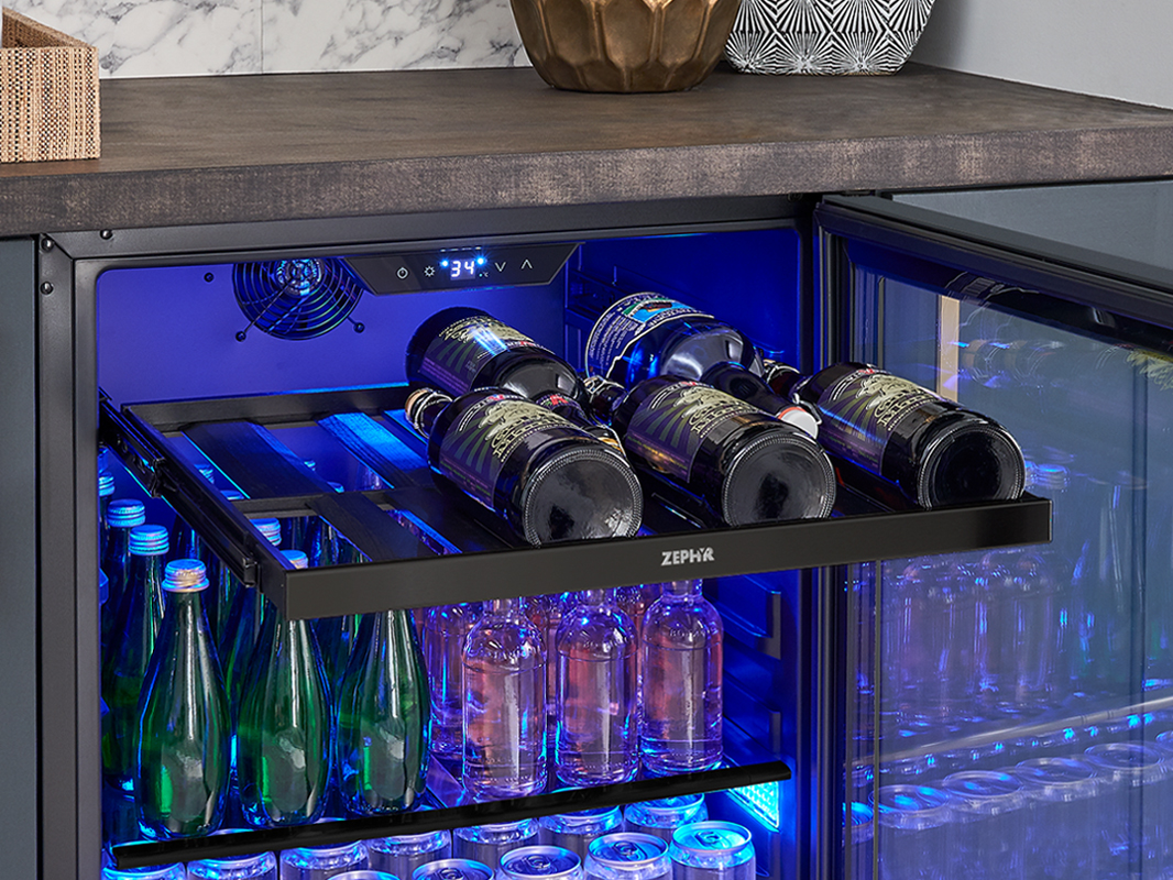Zephyr Presrv™ Panel Ready Single Zone Beverage Cooler Full-Extension, Black Wood Rack (1)