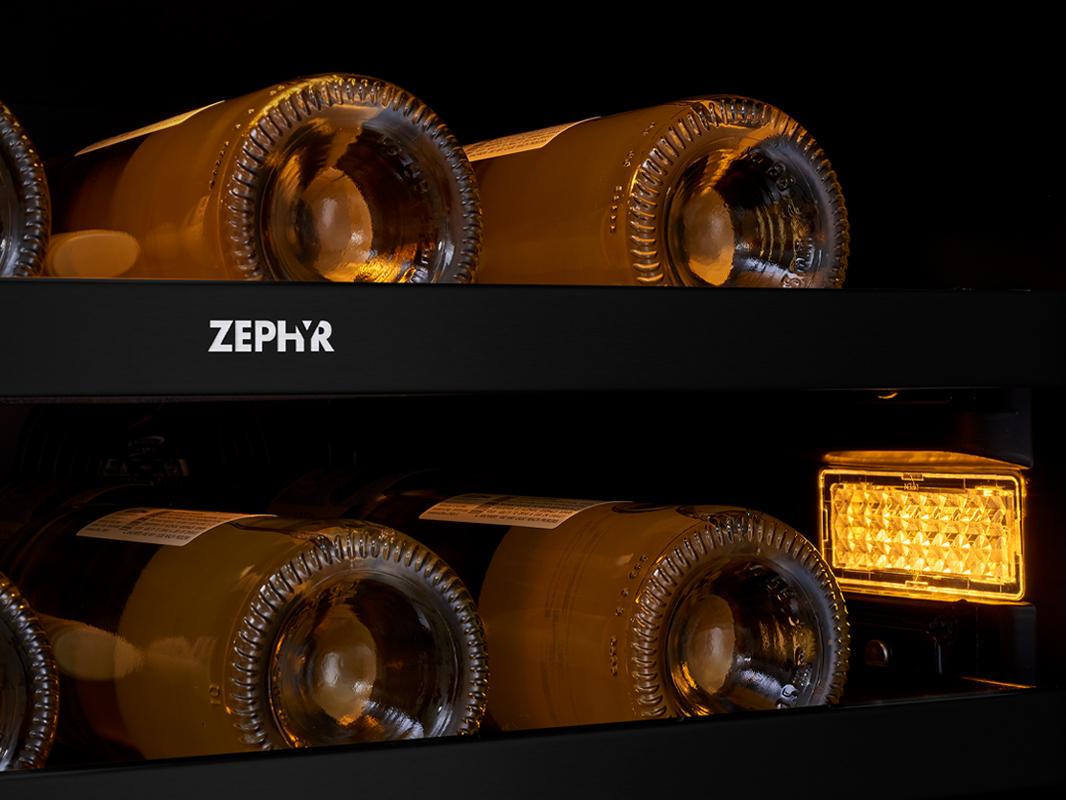 Zephyr Presrv™ Panel Ready Dual Zone Wine Cooler 3-Color LED Lighting in Amber