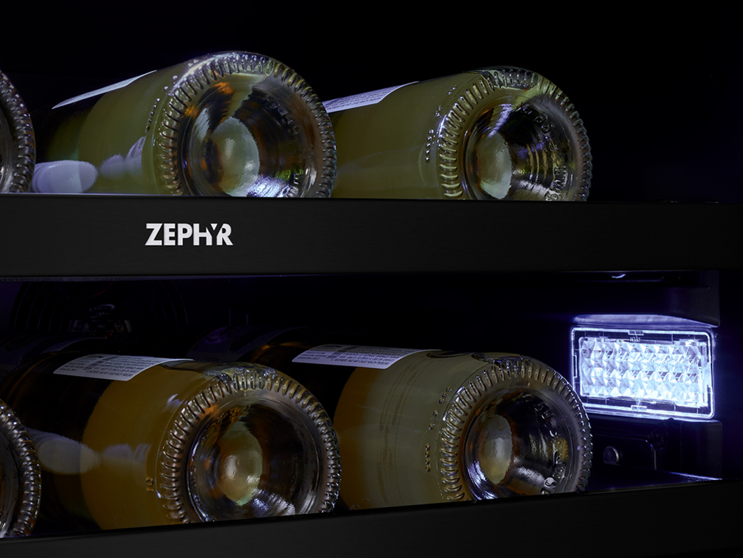 Zephyr Presrv™ Panel Ready Dual Zone Wine Cooler 3-Color LED Lighting in Cloud White