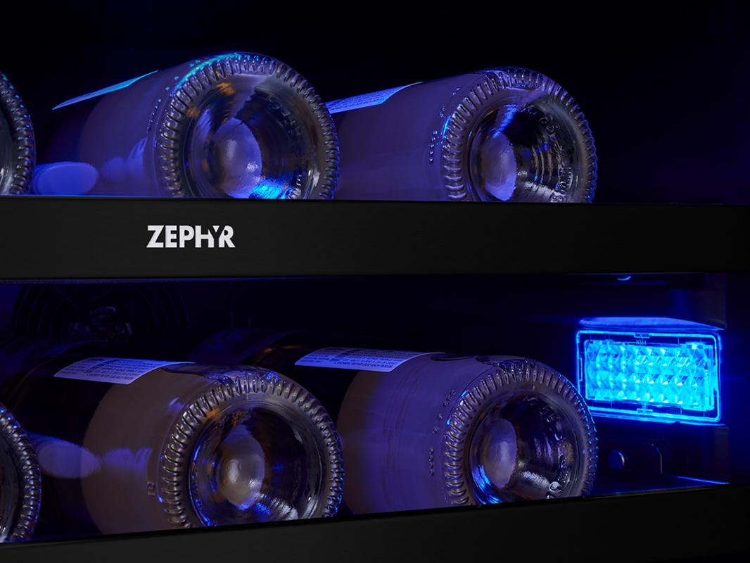 Zephyr Presrv™ Panel Ready Dual Zone Wine Cooler 3-Color LED Lighting in Deep Blue