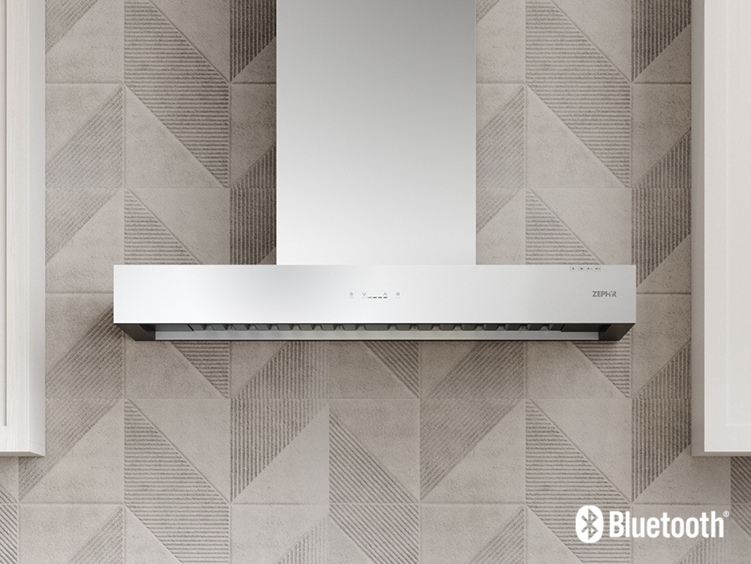 Zephyr Roma Groove Wall Range Hood with Bluetooth® Stereo Speakers