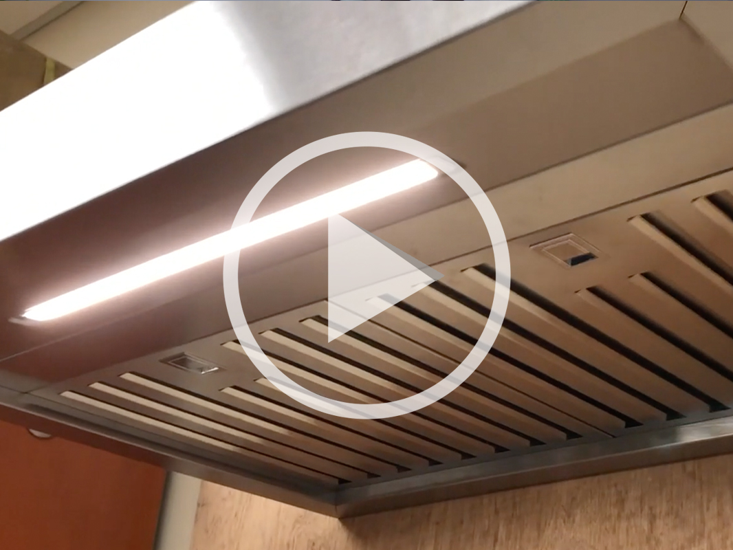 Zephyr Roma Groove Wall Range Hood with built-in Bluetooth® stereo speakers