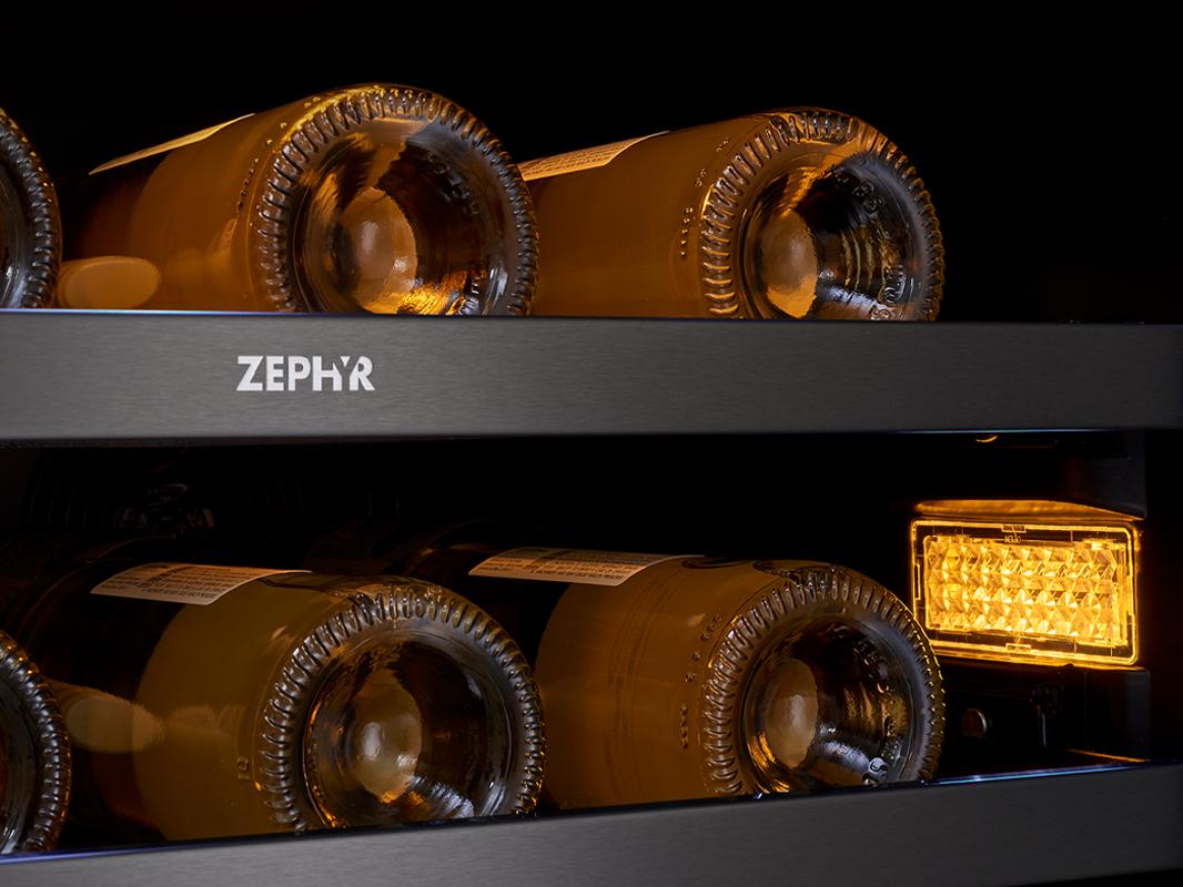Zephyr Presrv™ Dual Zone in Black Stainless Steel, 3-Color LED Lighting in Amber