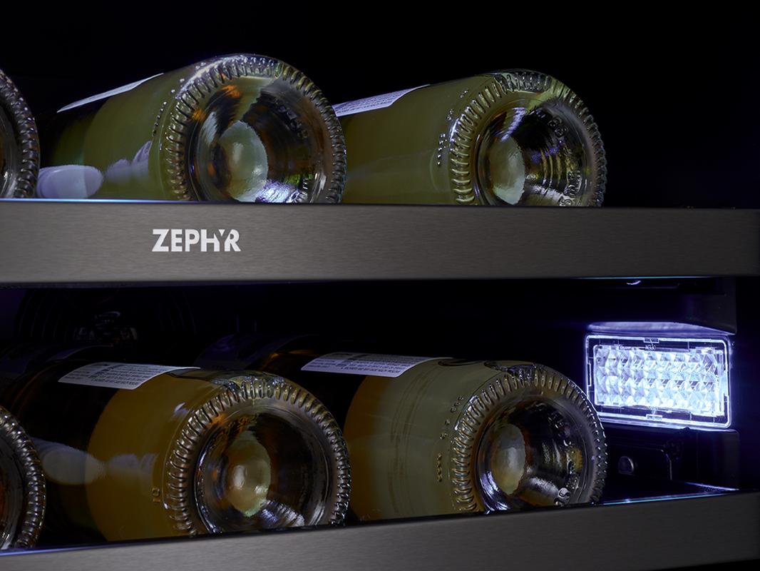 Zephyr Presrv™ Dual Zone in Black Stainless Steel, 3-Color LED Lighting in Cloud White