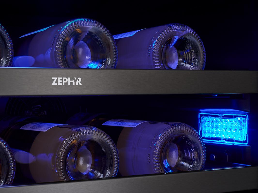 Zephyr Presrv™ Dual Zone in Black Stainless Steel, 3-Color LED Lighting in Deep Blue