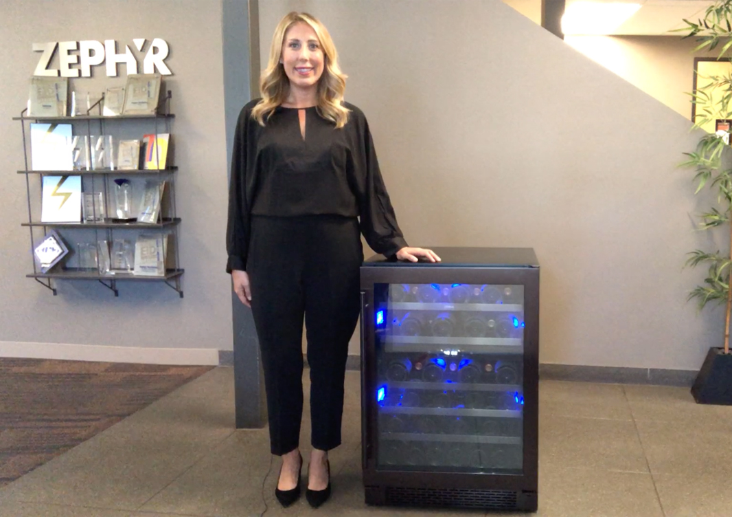 Zephyr Presrv™ Black Stainless Dual Zone Wine Cooler at Home