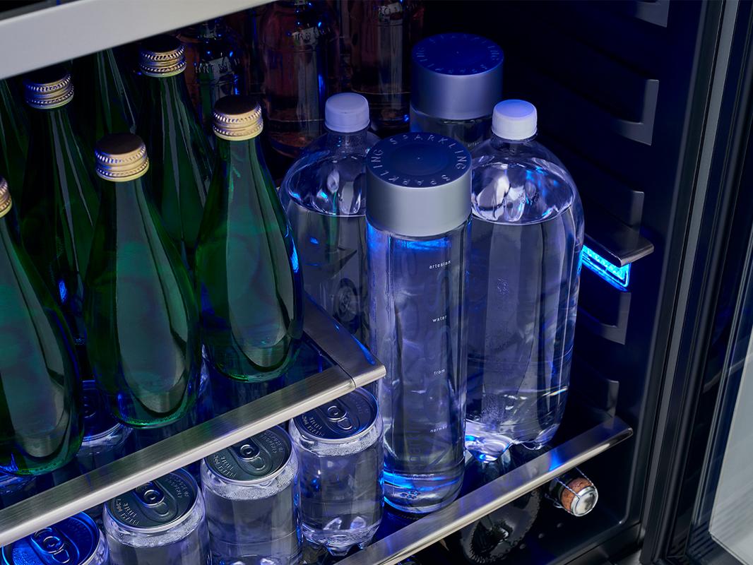 PRB24C01BS - Zephyr Presrv™ Single Zone Beverage Cooler with Retractable Quarter-Shelf showing 2L Bottles