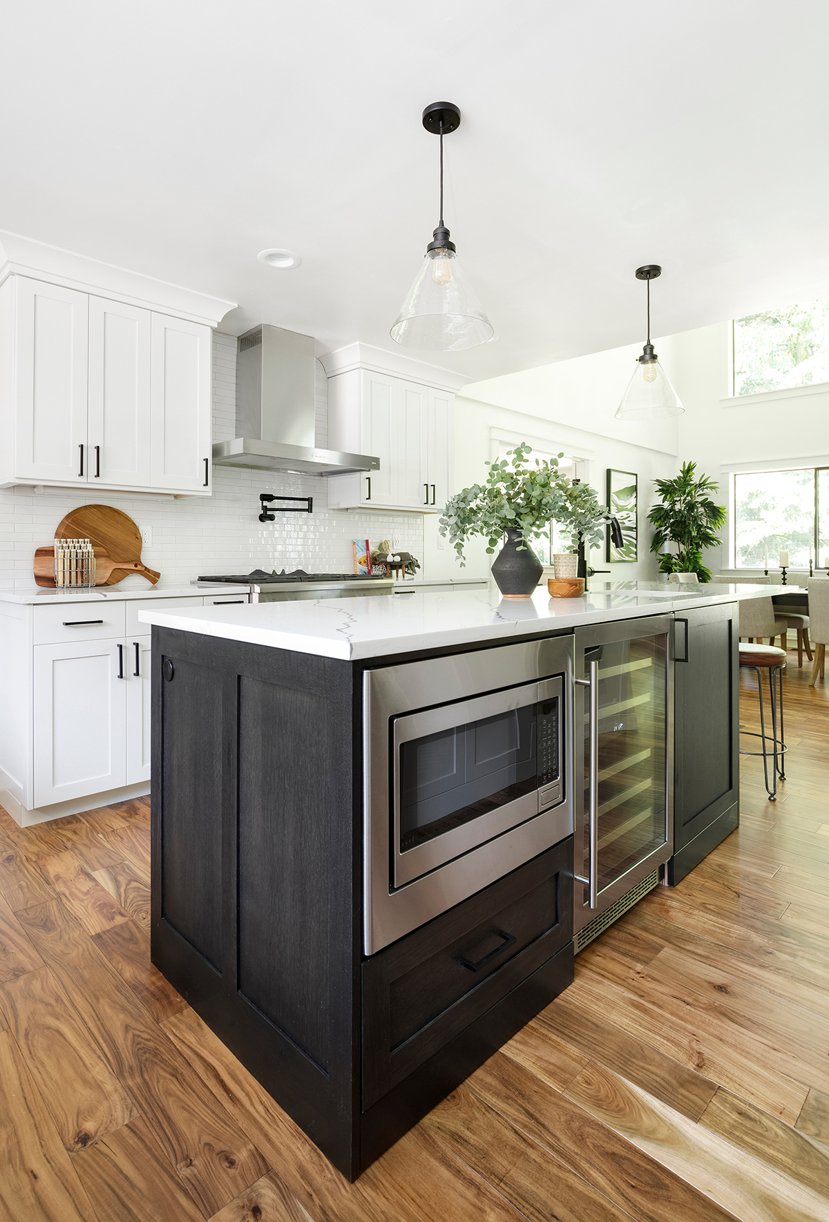 Featuring Zephyr Roma Wall Range Hood and Zephyr Presrv™ Dual Zone Wine Cooler