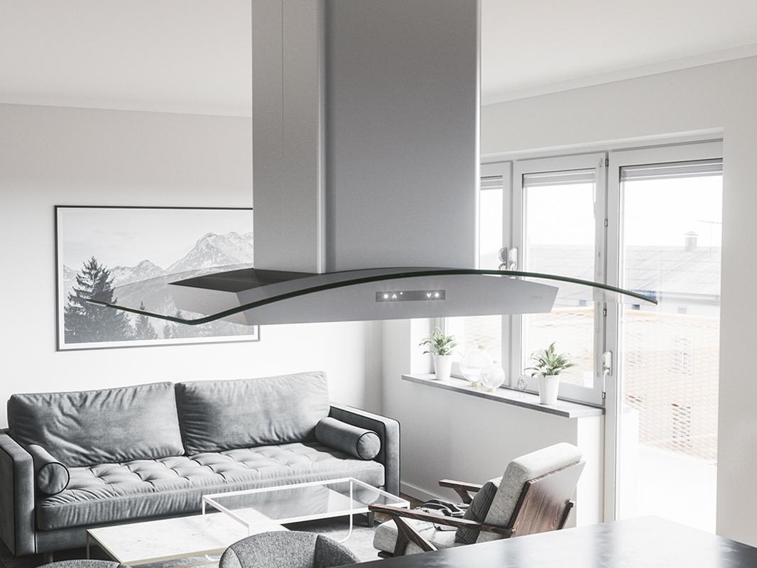 ZML - Zephyr Milano Island Range Hood with glass canopy