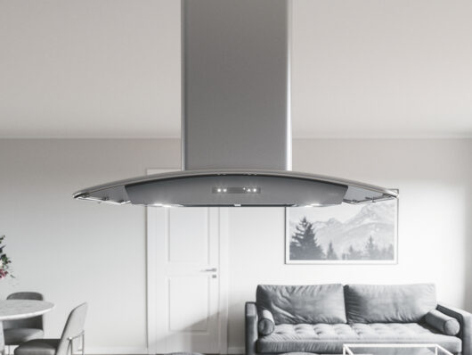 ZML - Zephyr Milano Island Range Hood with stainless steel canopy