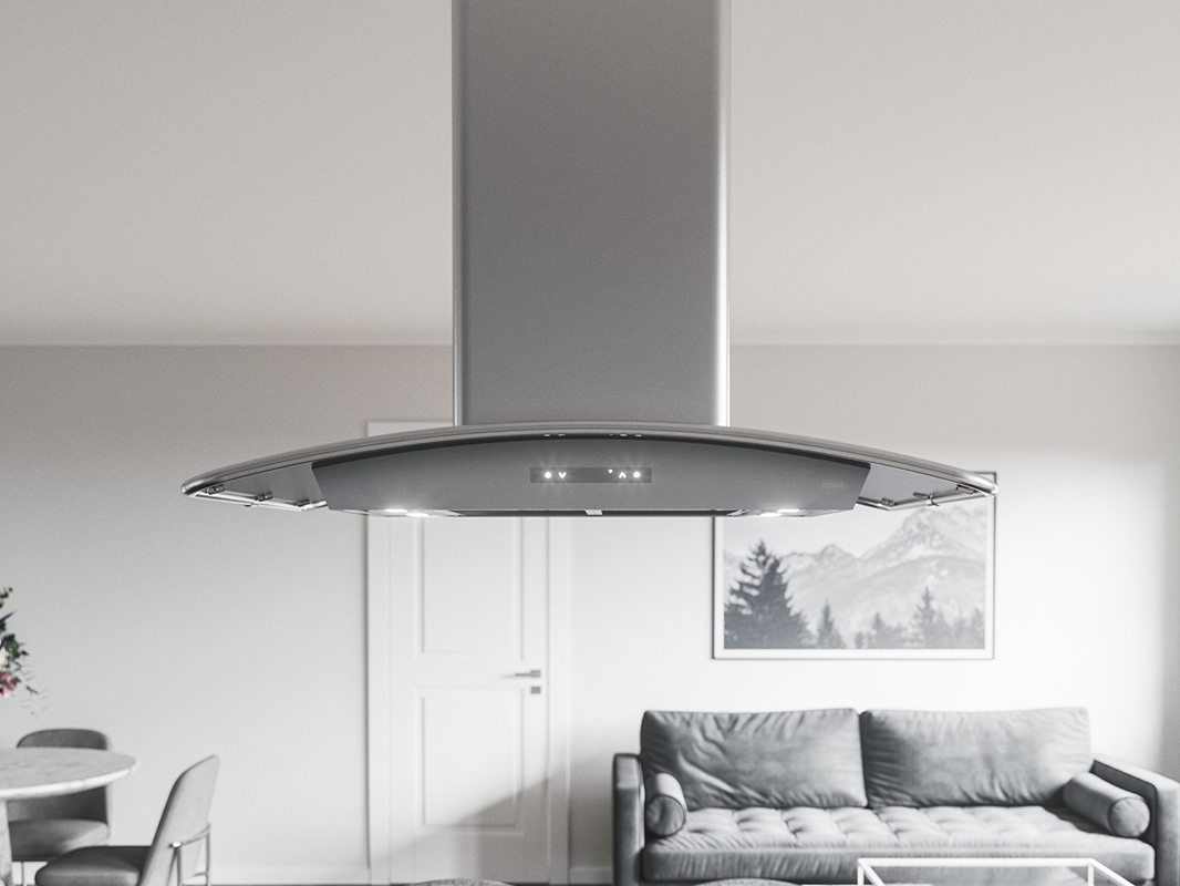 ZML - Zephyr Milano Island Range Hood with stainless steel canopy