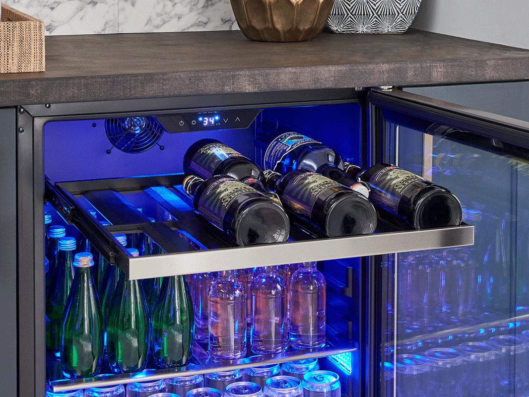 Zephyr Presrv™ ADA Single Zone Beverage Cooler full-extension wood rack
