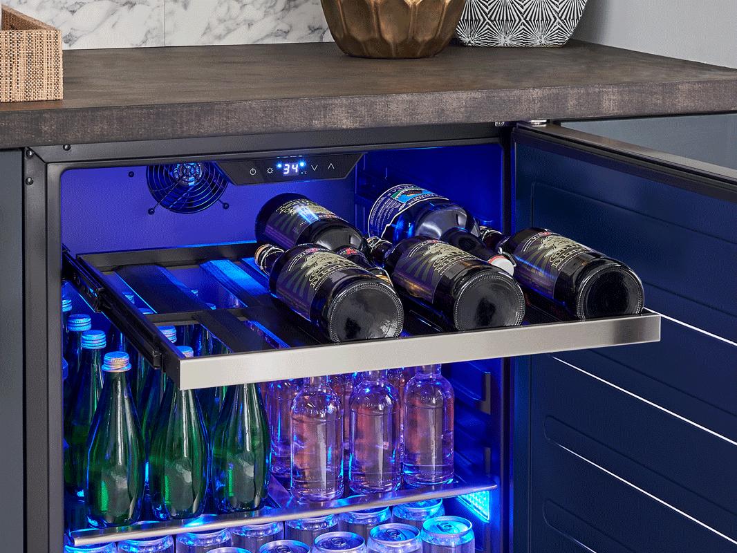 Zephyr Presrv™ ADA Single Zone Beverage Cooler with solid stainless steel door, full-extension wood rack