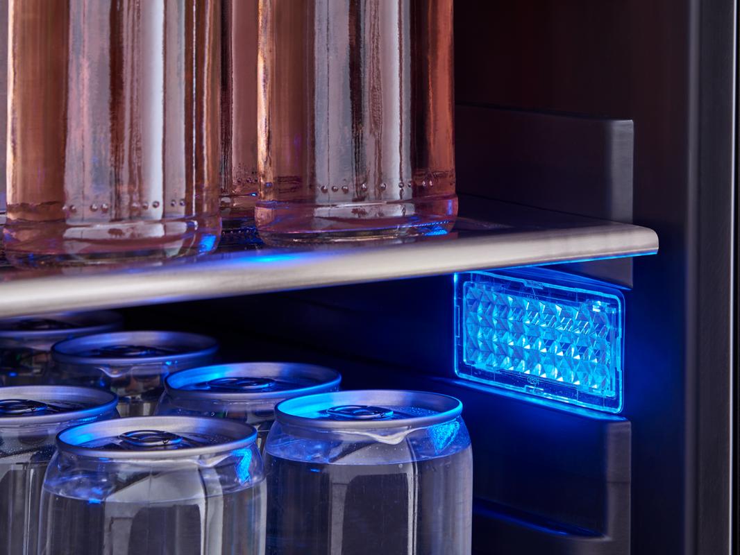PRB24F01AS - Zephyr Presrv™ Full Size Beverage Cooler, Deep Blue LED lighting