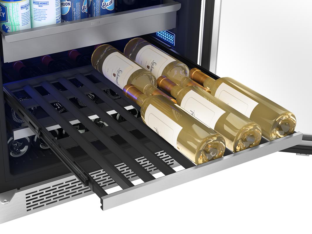 PRB24F01AS - Zephyr Presrv™ Full Size Beverage Cooler, full-extension wood rack