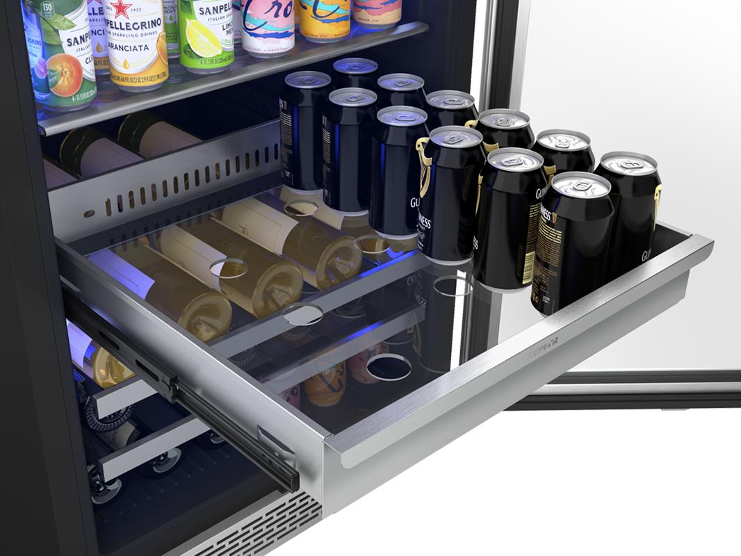 PRB24F01AS - Zephyr Presrv™ Full Size Beverage Cooler, full-extension stainless steel rollout bin