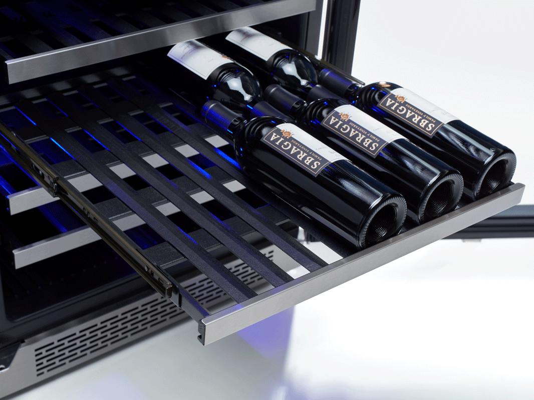 Zephyr Presrv™ ADA Dual Zone Wine Cooler full-extension wood racks