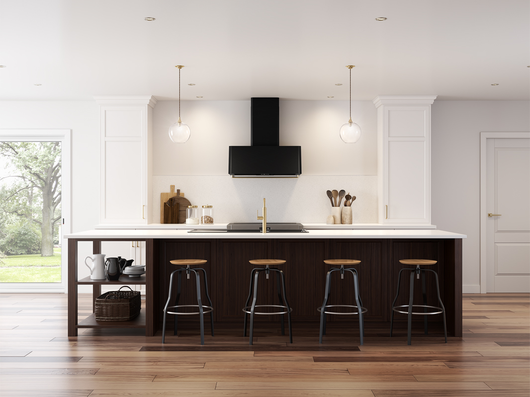 DME-A Zephyr Mesa Wall Range Hood in matte black with duct cover