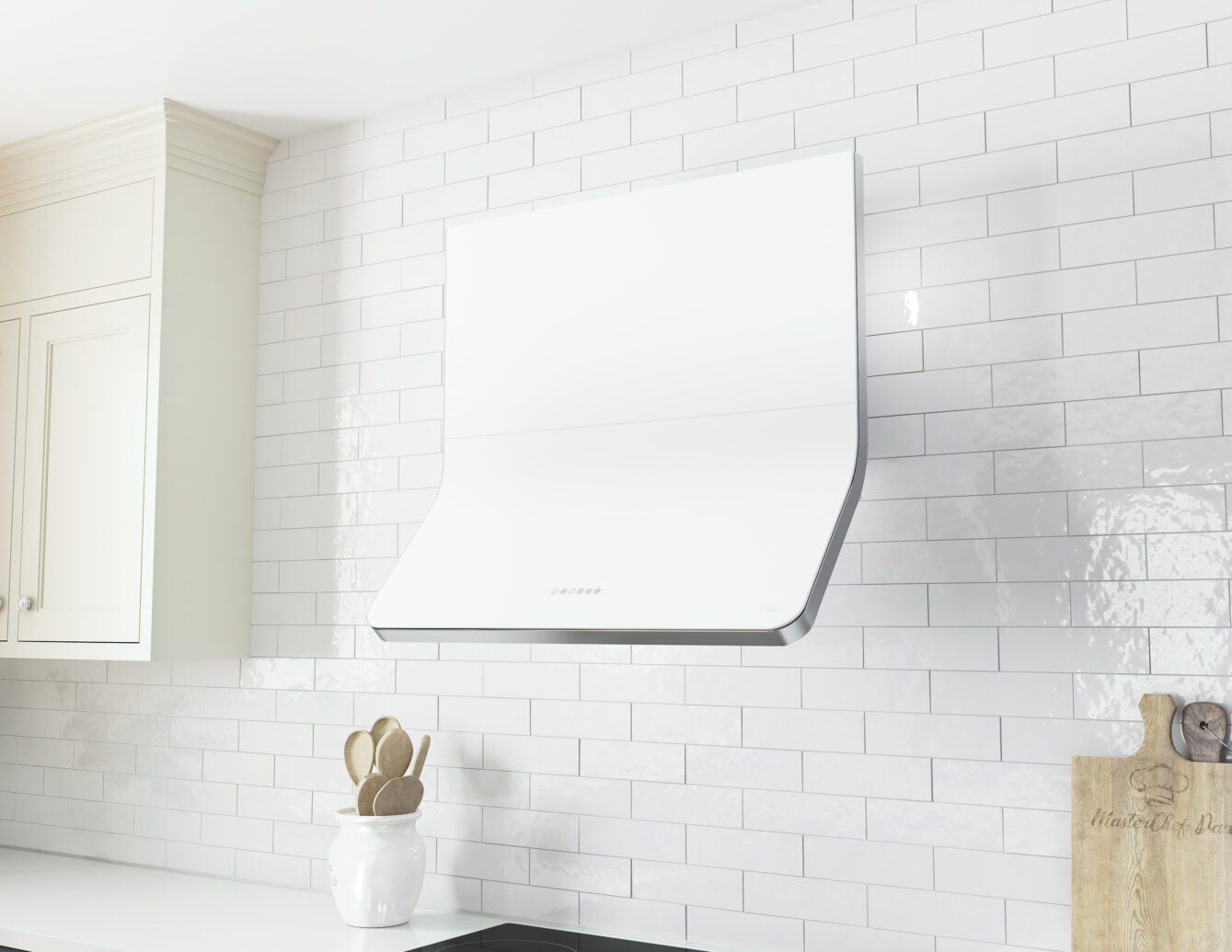 DHZ-A Zephyr Horizon Wall Range Hood in matte white glass
